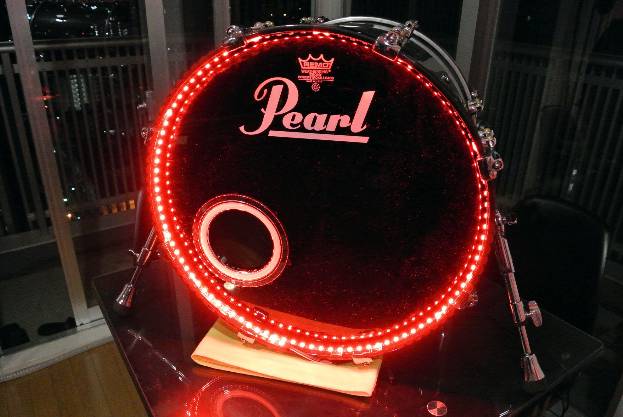 ドラムトリガーLEDライトニングシステム 単色-バスドラム用